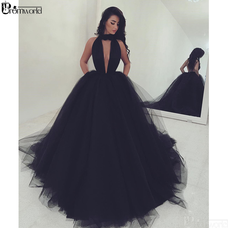 Sexy Black Evening Dresses 2019 Ball Gown Tulle Dubai Saudi Arabic Formal Evening Gown V-Neck Backless Long Party Prom Dress