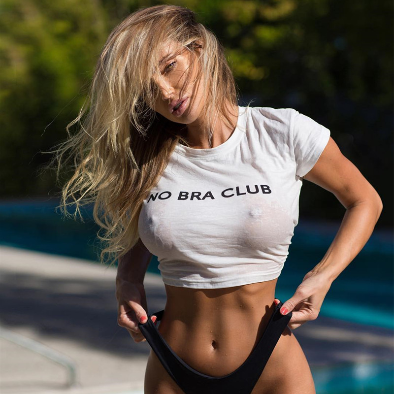 Sexy 2018 Letters NO BRA CLUB Printed White Cropped t ...