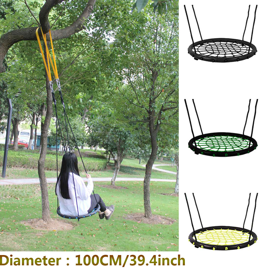 Children 100CM Round Rope Stout Swing  Indoor And Outdoor Nest Swing Hang Seat Baby Toy Tree Swing Bearing 200 Kg garden swing for children baby inflatable hammock hanging swing chair kids indoor outdoor pod swing seat sets c036 free shipping