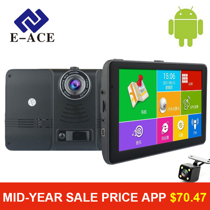 E-ACE 7 inch Car GPS Navigation Android Wifi SAT NAV Navitel Russia Map Europe America Asia Maps Auto Truck Vehicle Navigator abs chrome front head light eyelid cover trim for jeep grand cherokee 2014 2015