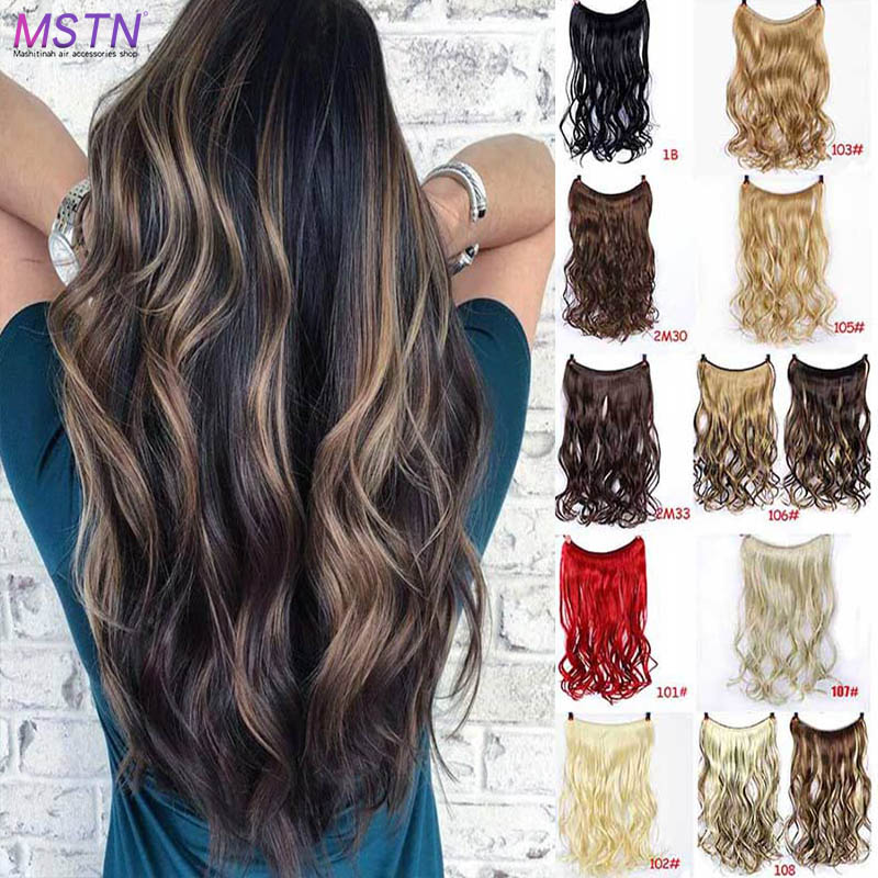 MSTN 24-inch long synthetic hair heat-resistant wig fish line straight and curly wave extended secret invisible wig   headwear