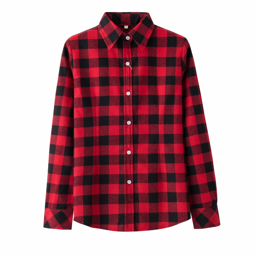 2018 Brand New Womens Plaid Shirts Checked Casual Cotton Shirts