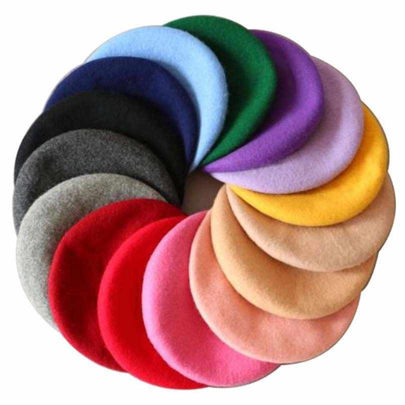 Новинка 2018 года; модная однотонная теплая шерстяная зимняя тонкая шерстяная шапка для девочек; берет для французских художников; Шапка-бини; Цвет черный, белый
