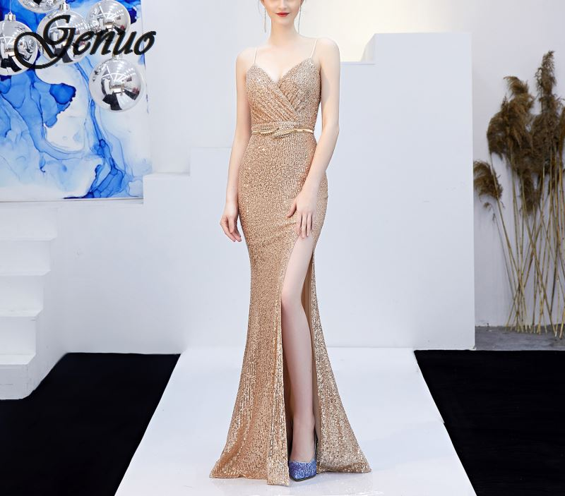 2019 New Women Strapless Sequin Dress Long Luxury Bling Stars Silver Gown Leg Open Outfit Party