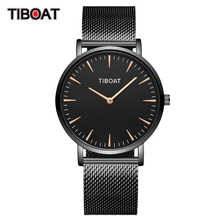 TIBOAT Rose Gold Mesh Stainless Steel  Watch Men Watches Women Top Brand Luxury Casual Clock Ladies Wrist Watch reloj hombre