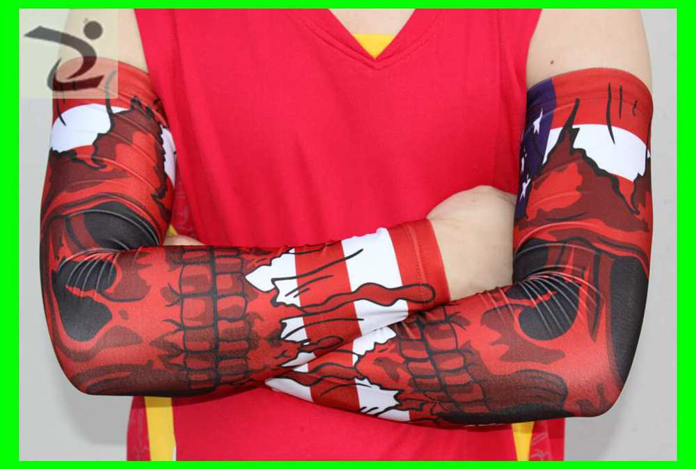 Red Black White Camo Compression Arm Sleeve For Baseball Shooting Running