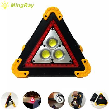 MINGRAY USB Rechargeable Emergency Flood Light 18650 RED LED Portable Roadside Hazard Triangle Warning Spotlight Traffic Police