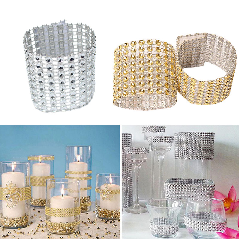 10Pcs Roll Crystal Ribbons Mesh Trim Bling Diamond Wrap Cake Napkin Ring Party Wedding Table Decoration Party Hot Sale
