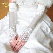 Lengthen rossoneri color embroidered fingerless gloves the bride formal dress Bridal Gloves G020