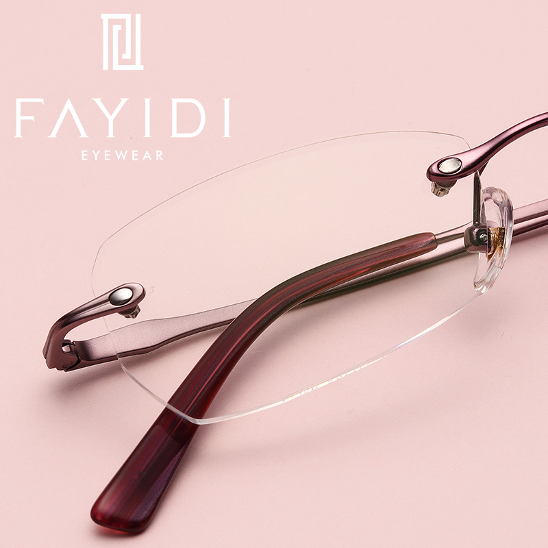 Women metal eyeglasses frame clear lens vintage retro prescription optical rimless spectacle frame Elegant style #F126