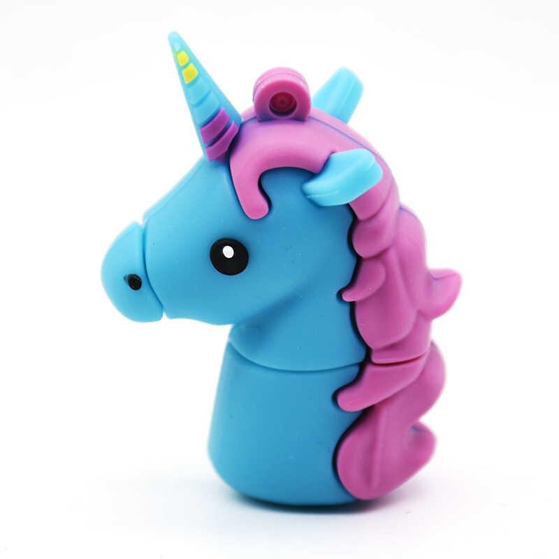 การ์ตูน Unicorn USB Flash ไดรฟ์ม้าน่ารักสัตว์ไดรฟ์ปากกา 4GB 8GB 16GB 32GB 64GB memory Stick Pendrives