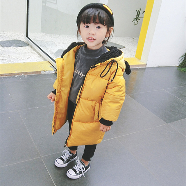 Best Price Winter jacket for girls Fur collar hooded Cartoon doll ornaments kids warm coat for girl outwear children clothes