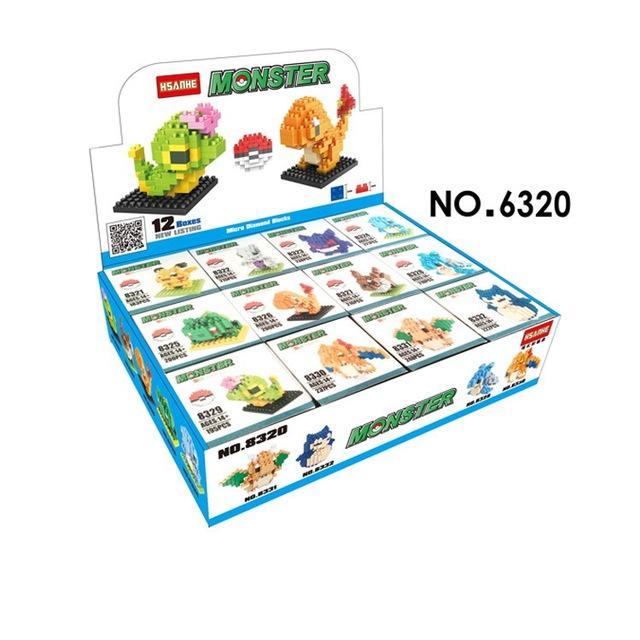 12 unids por juego pokemon hsanhe mini bloques diy juguetes de construcción Micro Modelo 3D Juguetes de dibujos animados Anime Niños Juguetes Para Niños de Regalos 8320
