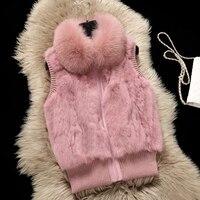 Real Fox Fur Collar Fashion Natural Rabbit Fur Patchwork Waistcoats Women Plus Size Vests Genuine Leather Fur Sleeveless Jackets