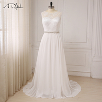 ADLN White/Ivory Plus Size Wedding Dresses Scoop Neck Lace A line Chiffon Big Women Wedding Dresses Robe De Marriage Custom