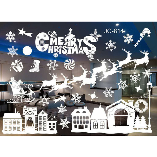 New year window glass pvc wall sticker christmas diy snow town wall stickers home decal christmas