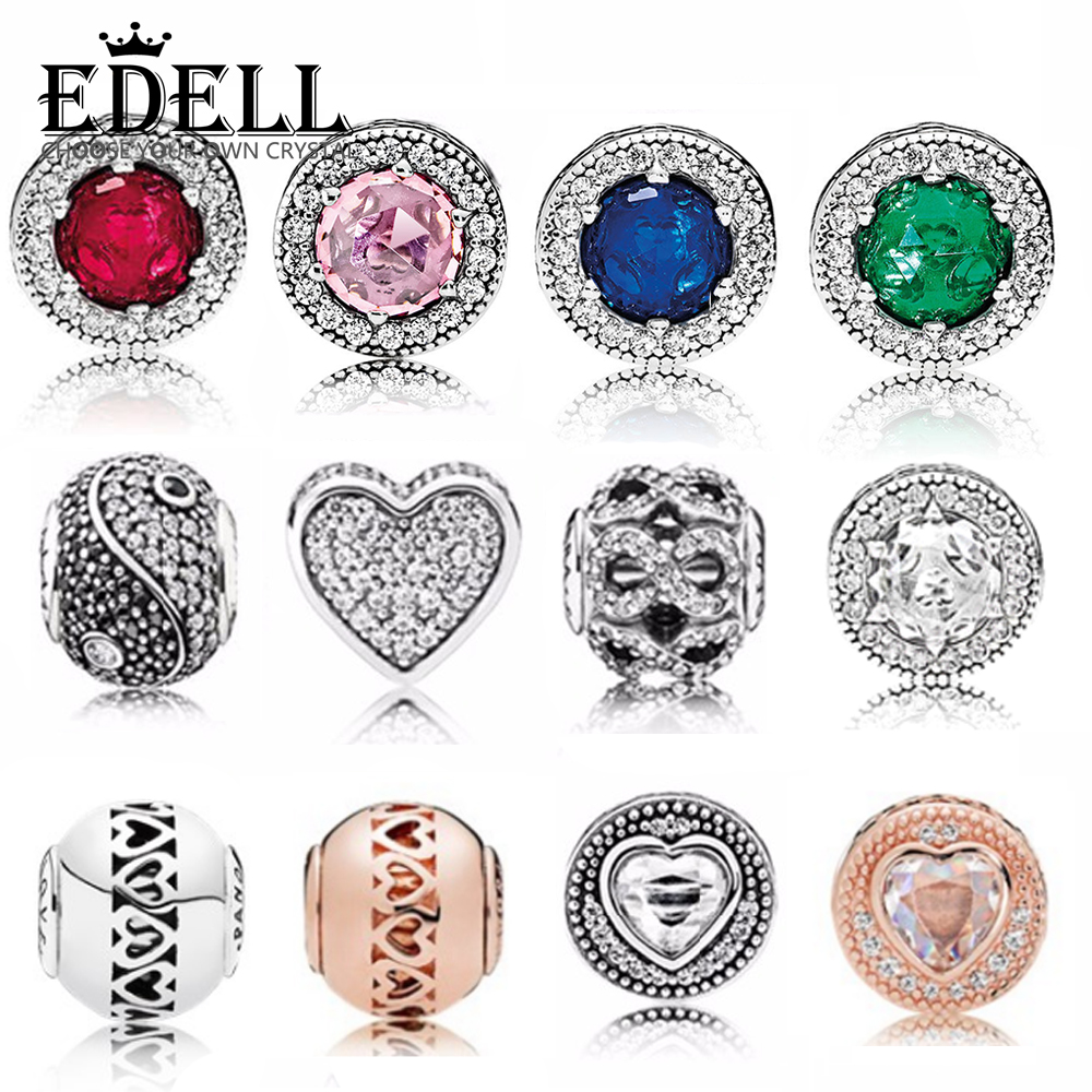 EDELL Original genuine 100% 925 sterling silver Hollowed out pattern Charm bead Fit collocation DIY bracelet E series jewelryEDELL Original genuine 100% 925 sterling silver Hollowed out pattern Charm bead Fit collocation DIY bracelet E series jewelry