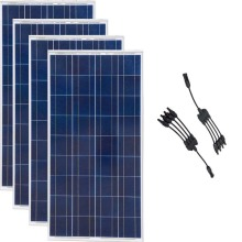 Pannello Solare 12v 150w 4 Pcs Solar Panels 600w 220v Home System in 1 Mc4 Connector Rv Off Grid Boat Caravan Car