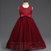 Elegant Kids Girls Party Wear Costume For Children Bridesmaid Wedding Dress Red Formal Gown Teenage Girls