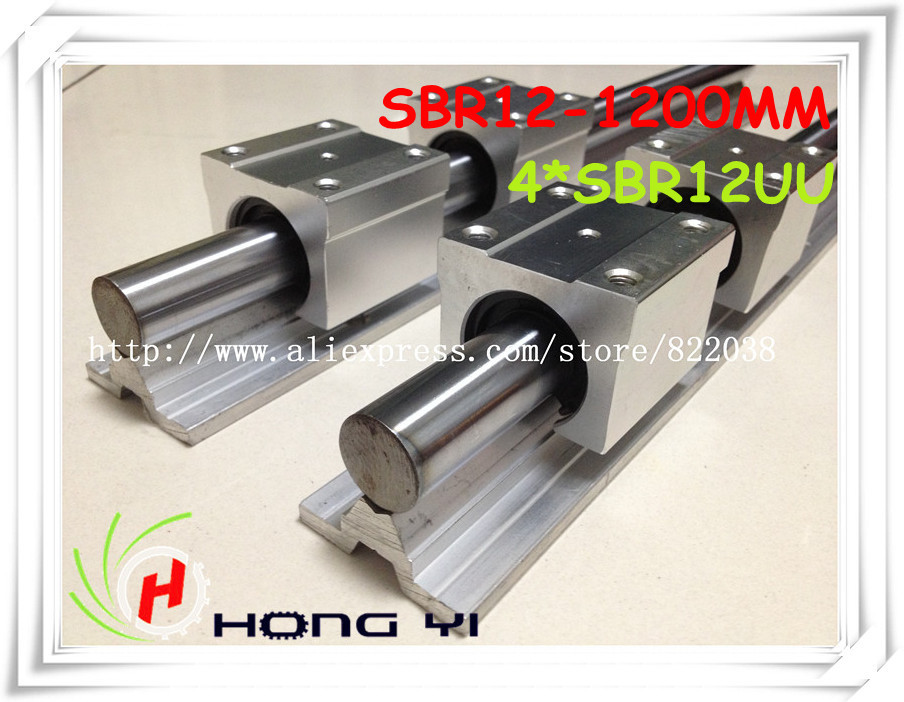 2pcs SBR12 L1200mm CNC Linear Rails CNC Support, 4pcs SBR12UU Linear Block Parts CNC 2pcs hgr15 l1200mm 100
