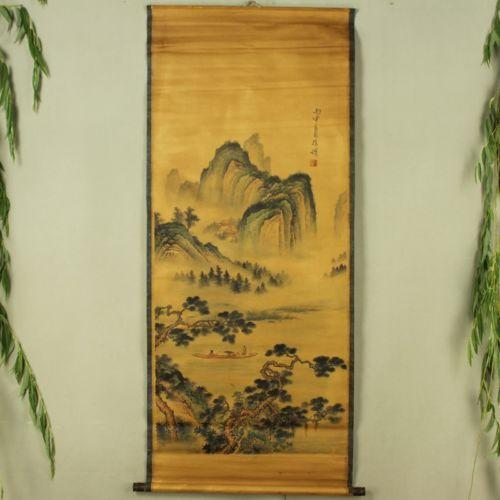 Exquisite Chinês Antigo coleção Xu Wei de Imitação antiga pintura de paisagem