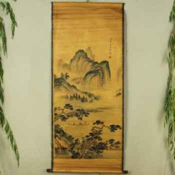 Exquisita colección Antigua China imitación antigua Xu Wei pintura de paisaje