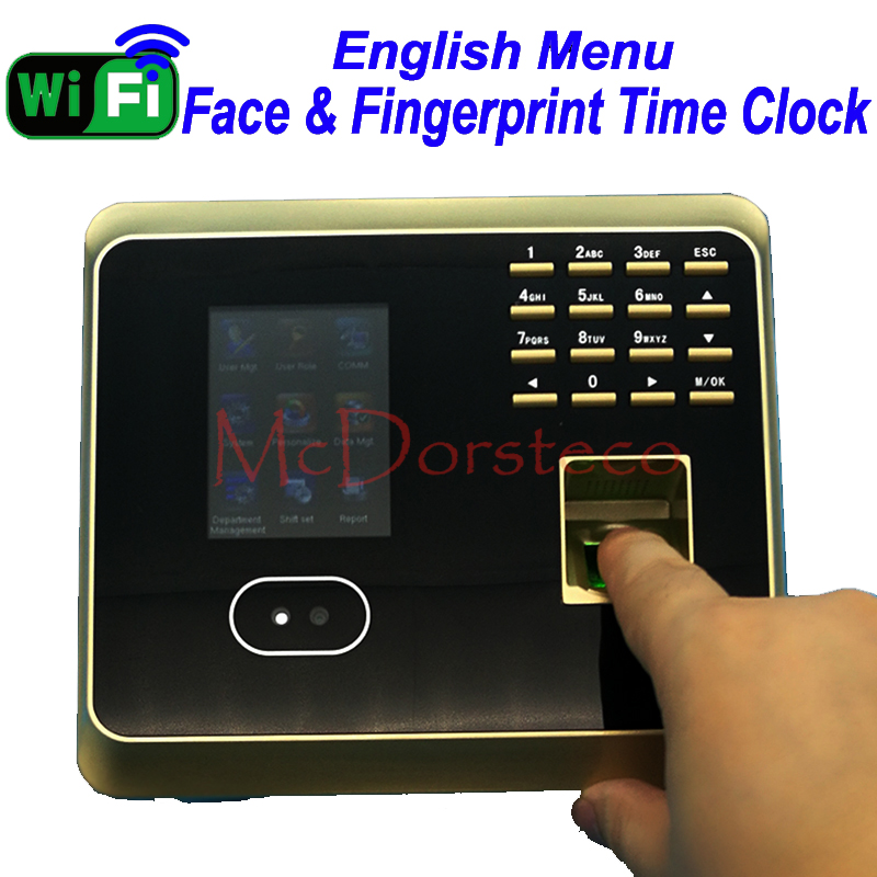Free Shipping New Wifi ZK Face Time Attendance Empolyee Time Record System Tcp/ip Face And Fingerprint Time Clock UF100plus