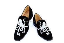2016 New Design LTTL Men Suede Sneakers Embroidery Flats Slip-on Octopus Men Casual Shoes