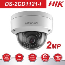 цены на Original HIK 1080P CCTV IP Camera 1080P DS-2CD1121-I 2 Megapixel CMOS Night version Security PoE Dome Camera Outdoor  в интернет-магазинах
