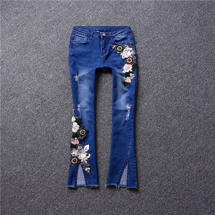 Brand fashion women 's high - end luxury heavy industry embroidery bead sequins cut - off speaker Slim jeans mitsubishi heavy industries srk35zm s src35zm s