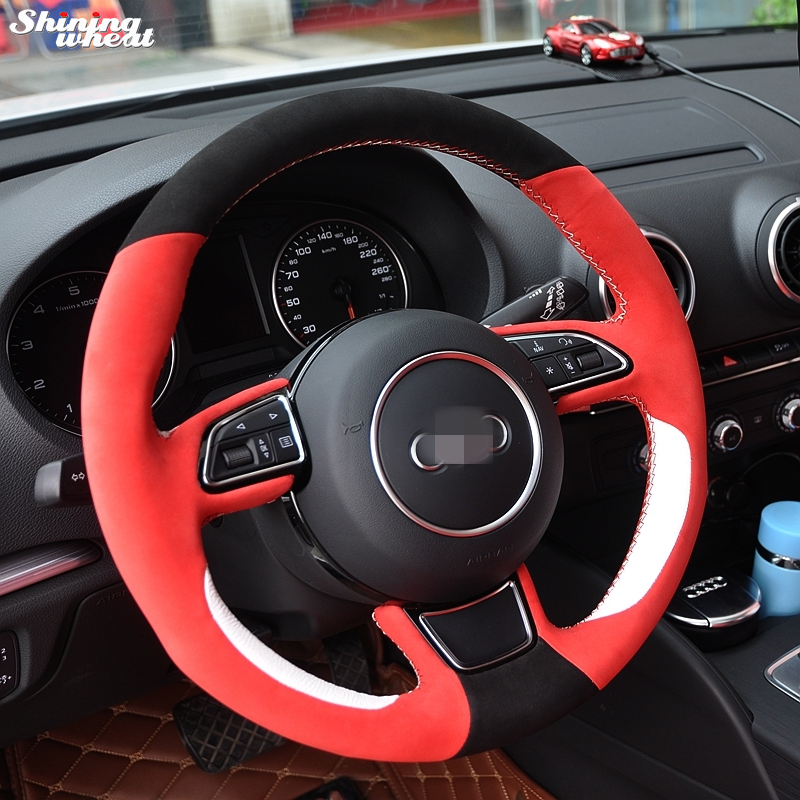 Shining wheat Hand-stitched Black Red Suede White Leather Car Steering Wheel Cover for Audi A1 A3 A5 A7 runba breathable leather steering wheel cover sets black white red