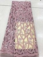Factory Outlet Afrikanisches Spitzegewebe Qualität Mesh Spitze Kleid Stoff Perlen Hochzeit Stoff D2080
