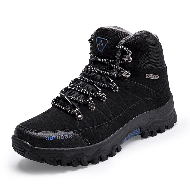Black Men Boots Winter Fur Warm Snow Boots Men Shoes High Ankle Leather Military Boots Men Waterproof Hiking Shoes Men High Top