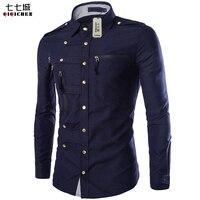 New Autumn Military Casual Mens Long Sleeve Shirt 2017 Multi Zipper Pocket Camisa Social Masculina Slim