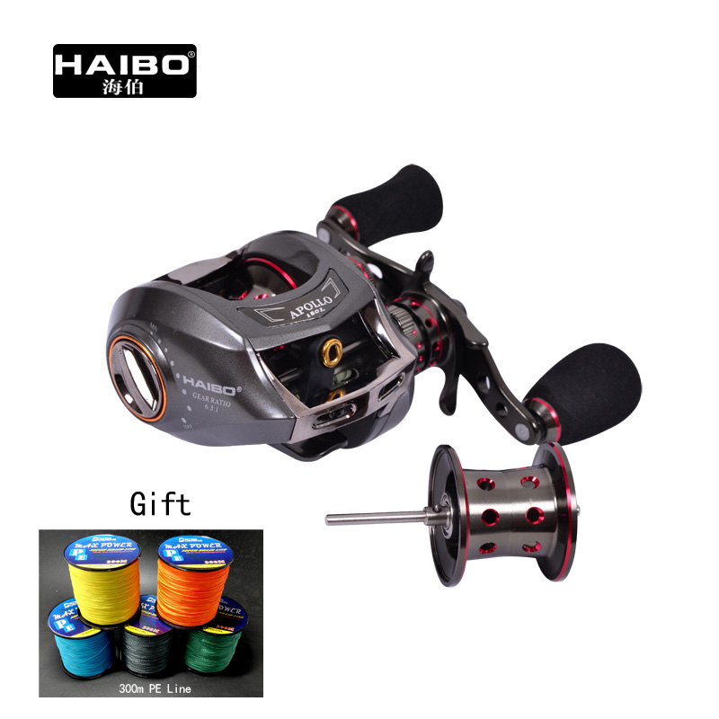 Haibo APOLLO 150 151 left/right hand 170g Baitcasting Fishing Reel 6.5:1 13B+1RB with a spare spool ,Free shipping 1di400mp 120 welcomed the consultation
