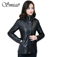 Smiao 2017 High Quality Plus Size Autumn Winter Women Leather Jacket With Hooded Slim Ladies Leather