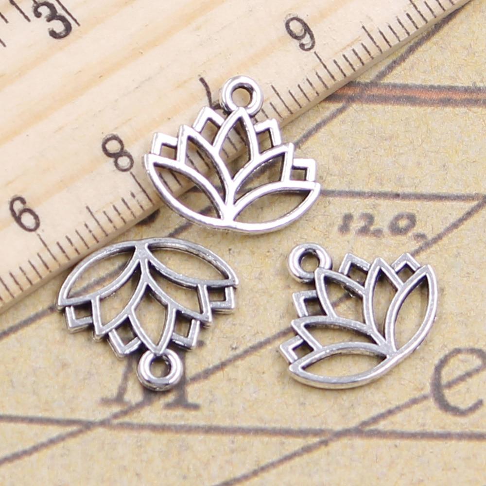 Wholesale 30pcs Leaf Beads Charms Tibetan Silver Pendant Fit DIY Necklace 19x5mm