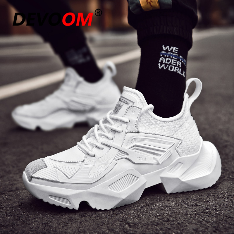 US $32.48 40% OFF|Kanye West Shoes Men Brand White Sneakers 2019 Spring Man Casual Shoes New Fashion Mens Casual Shoes Hot Sale Platform Snakers in