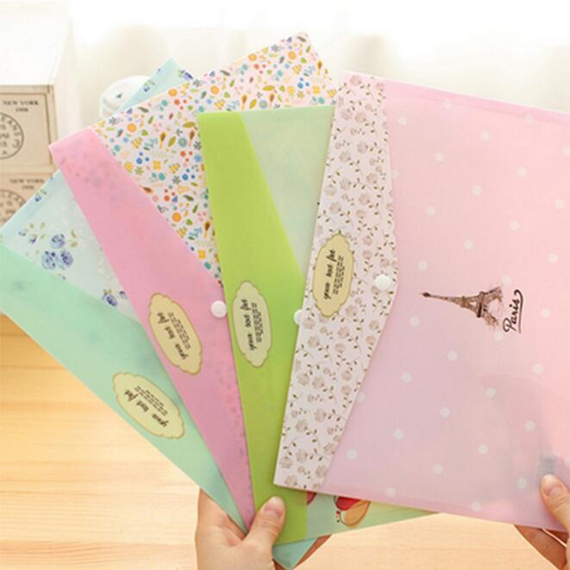1pcs/lot NEW Fresh Foral A4 PVC File Folder Documents Bag Stationery Filing Production School Office Supplies