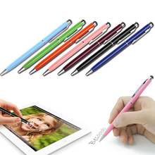 20pcs/Lot 2in1 Touch Screen Stylus Pen+Ballpoint Pen for iPad iPhone Tablet Smartphone radom colors