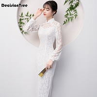 2019 red cheongsam dress long mermaid qipao dresses phoenix lace traditional chinese patterns wedding vintage embroidery