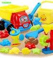 Happyxuan 17 peças crianças plástico caminhão praia balde conjunto de água do moinho de vento e areia play brinquedos de alta qualidade seguro