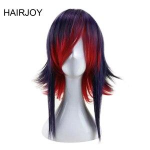 Image 1 - HAIRJOY 합성 머리 보라색 블루 혼합 레드 코스프레 가발 스트레이트 Ombre 의상 가발 2 색상을 사용할 수
