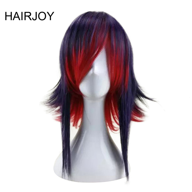 HAIRJOY 합성 머리 보라색 블루 혼합 레드 코스프레 가발 스트레이트 Ombre 의상 가발 2 색상을 사용할 수