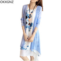 OKXGNZ 2017 Summer Style Cotton Linen Two Piece Dress Vintage Print Women Costume Casual Loose Medium