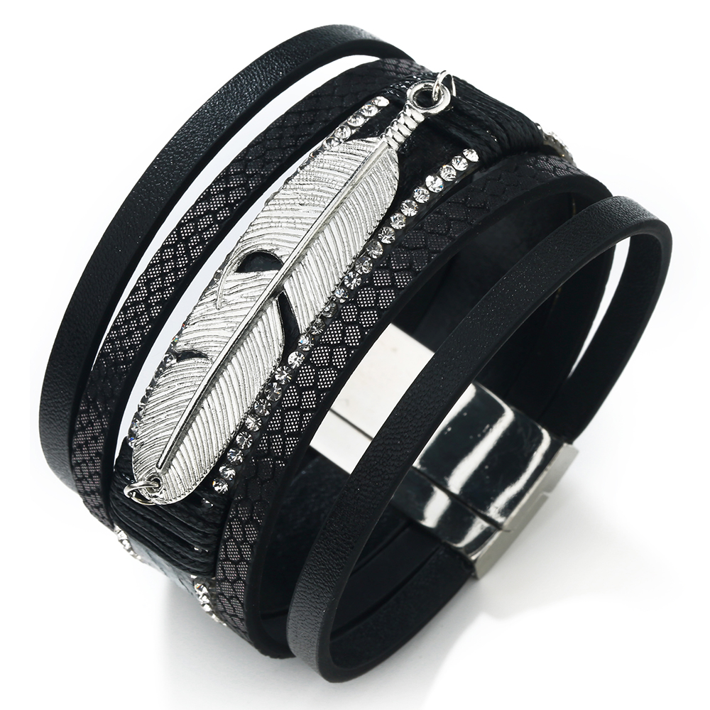17 Fashion Alloy Feather Leaf Wide Magnetic Leather Bracelets & Bangles Multilayer Wrap Bracelets for Women Men Jewelry 19