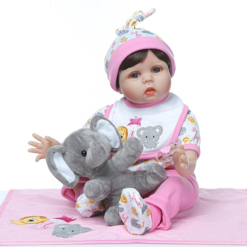 Lovely Baby Simulation Doll With Cute Elephant plush toy soft Silicone + cotton body Reborn Baby Dolls 55cm Christmas bebe GiftLovely Baby Simulation Doll With Cute Elephant plush toy soft Silicone + cotton body Reborn Baby Dolls 55cm Christmas bebe Gift