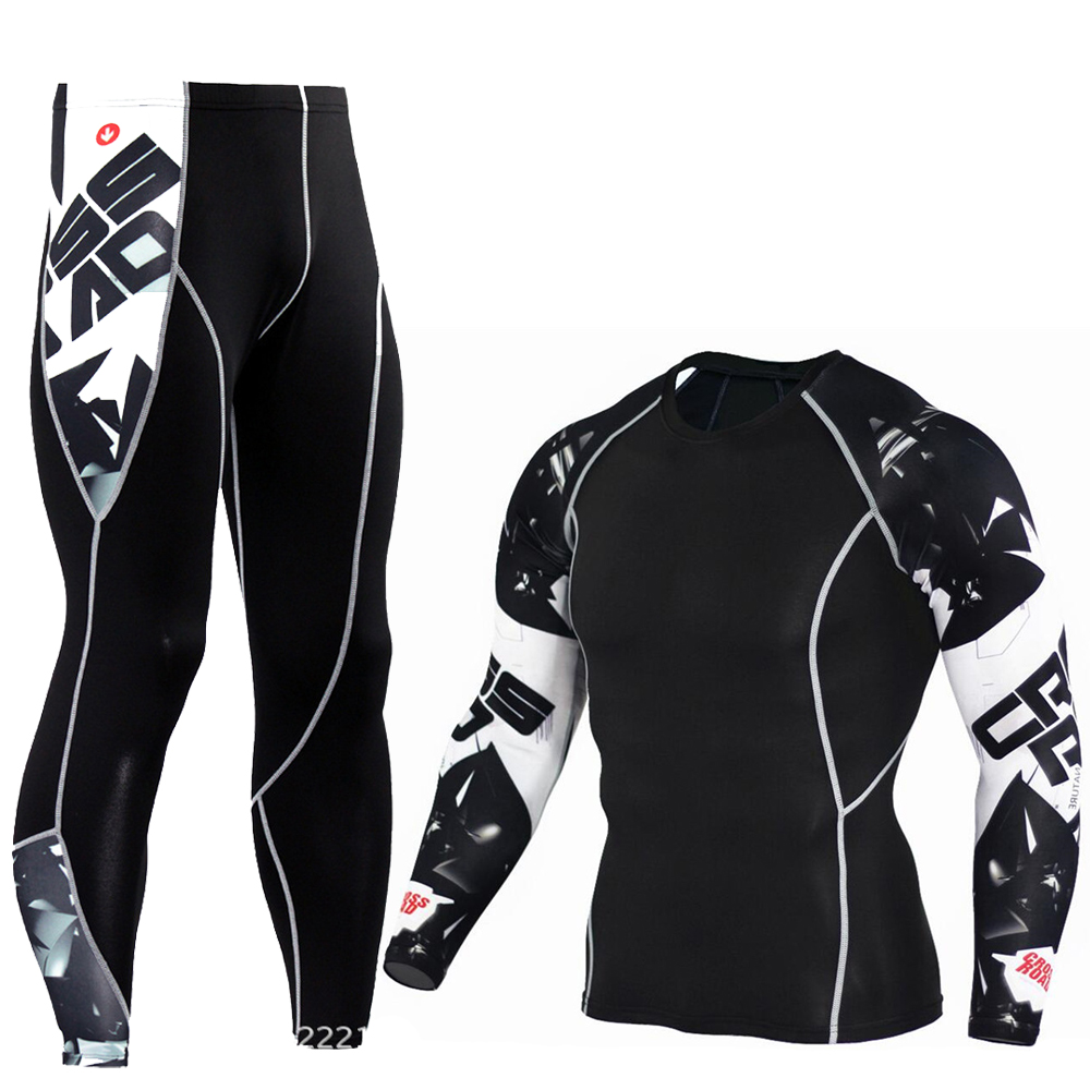 Men's Compression Run Jogging Suits Clothes Sports Set Long T Shirt And Pants Gym Fitness Workout Tights Clothing 2pcs/Sets MMA 3