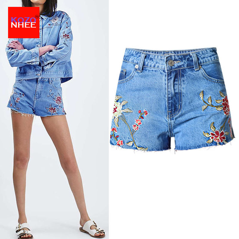 US Summer Women Casual Floral Embroidered Shorts Jeans Denim Short Tight Pants