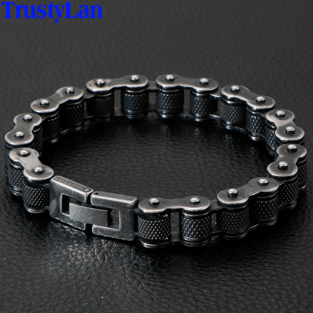 Men Bracelet Bangles Jewelry Motorcycle-Chain Stainless-Steel Retro Best-Friends Heavy title=
